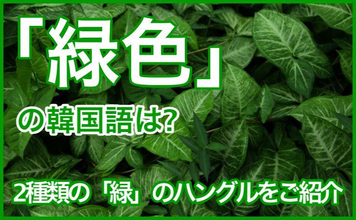 「緑」の韓国語